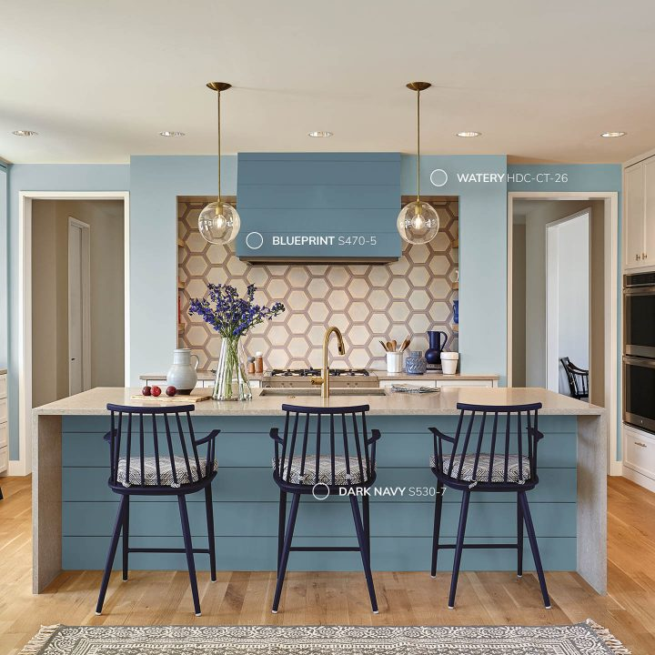 Kitchen painted with Behr 2019 color of the year Blueprint