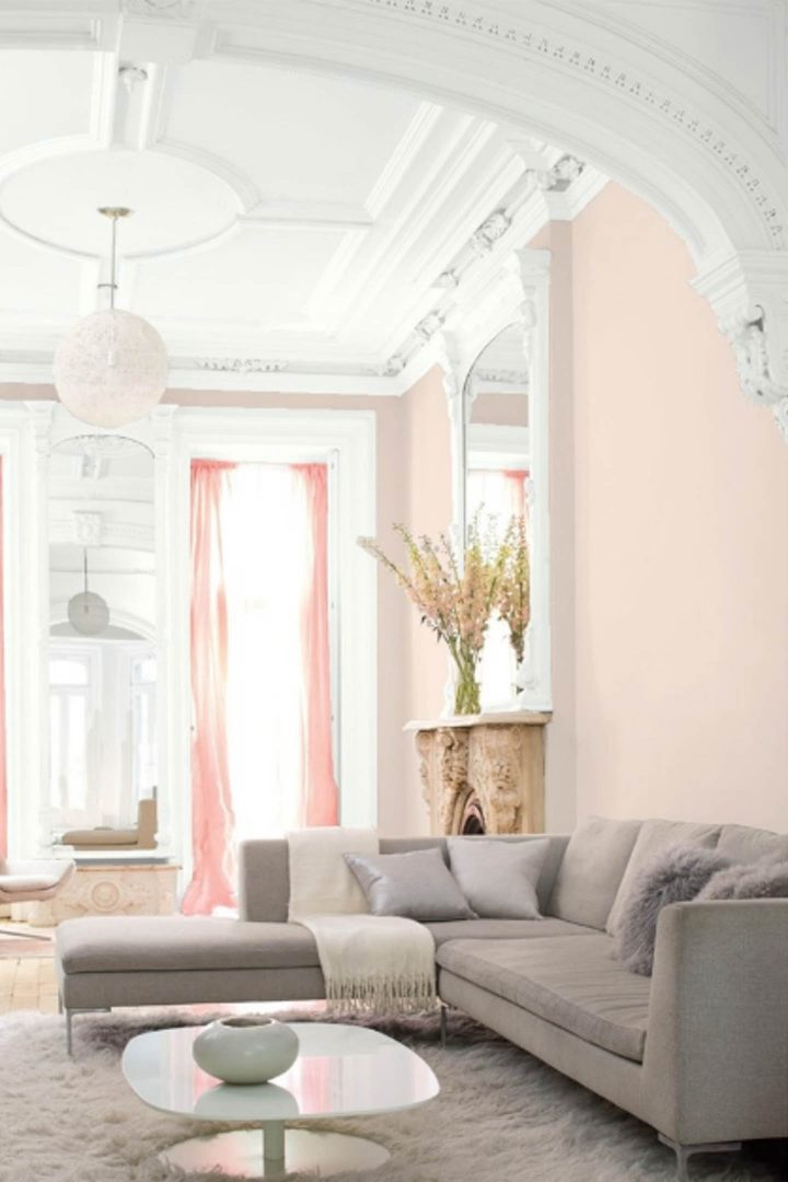 "Living room painted in Benjamin Moore ""Head Over Heels"""
