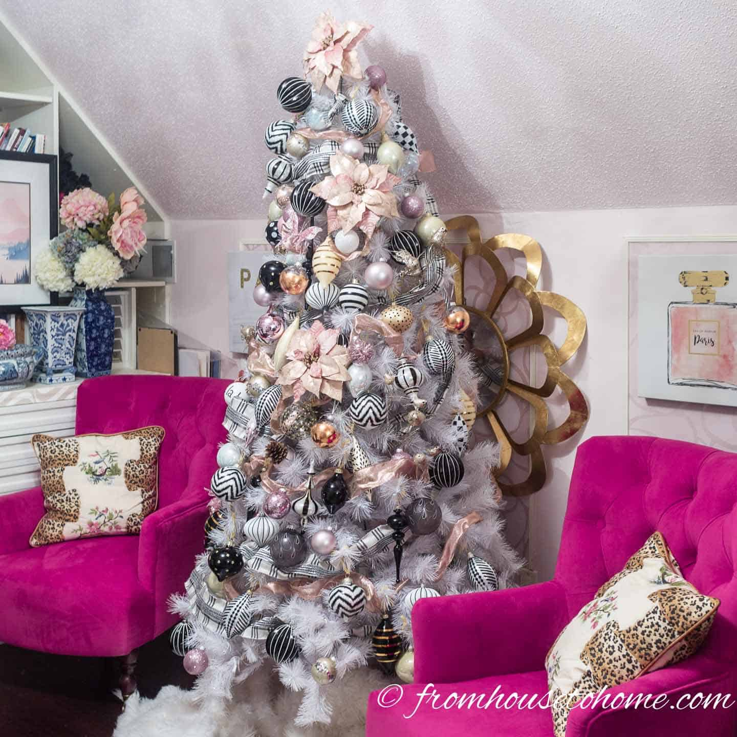 Christmas Tree Decorations Ideas.Blush Pink White And Black Christmas Tree And 20 Other