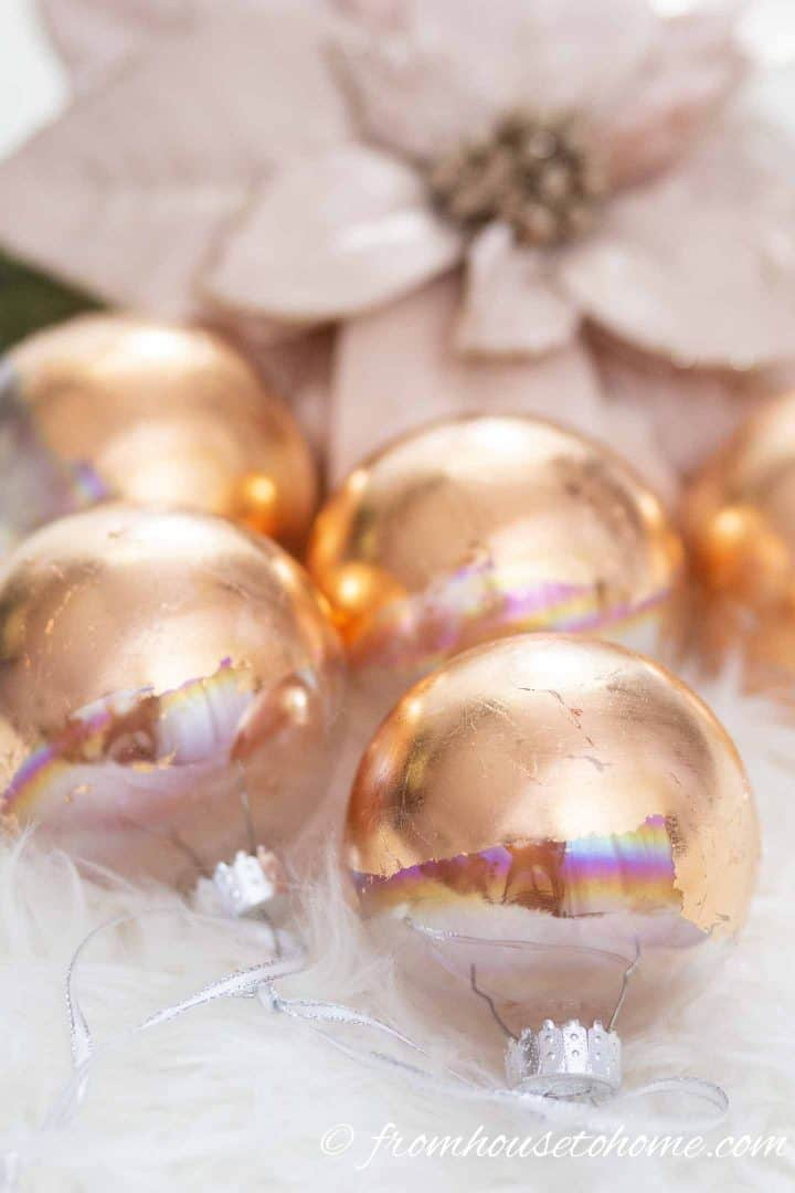 The finished DIY copper Christmas ornaments