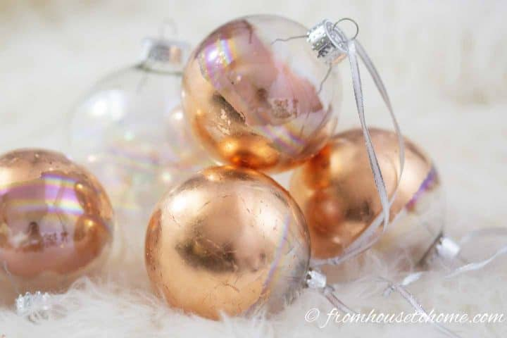 Homemade copper leaf Christmas ornaments