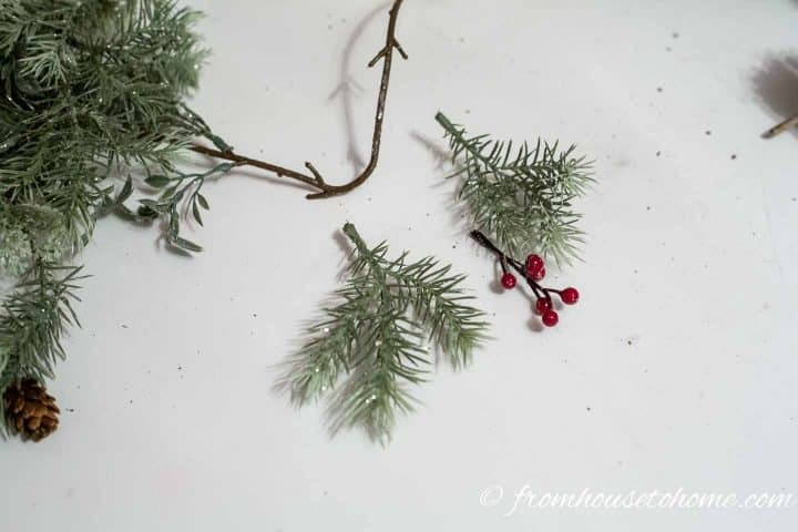Faux evergreen branches and berries
