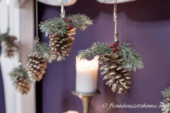 Pine cone DIY Christmas ornaments with gold string