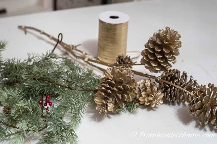 Pine cone DIY Christmas ornament supplies