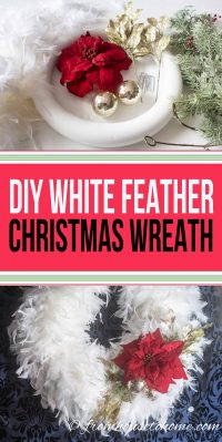 DIY white feather Christmas wreath and supplies