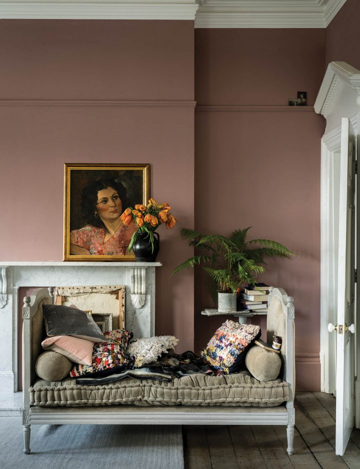 "Living room painted in Farrow and Ball ""Sulking Room Pink"""