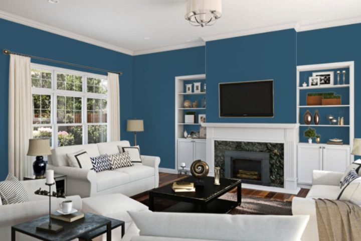 Living room painted in Sherwin Williams Endless Sea