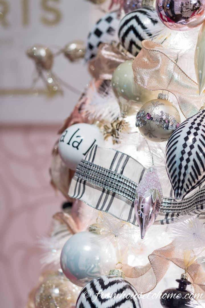 Blush Pink White And Black Christmas Tree And 20 Other Christmas Tree Decorating Ideas