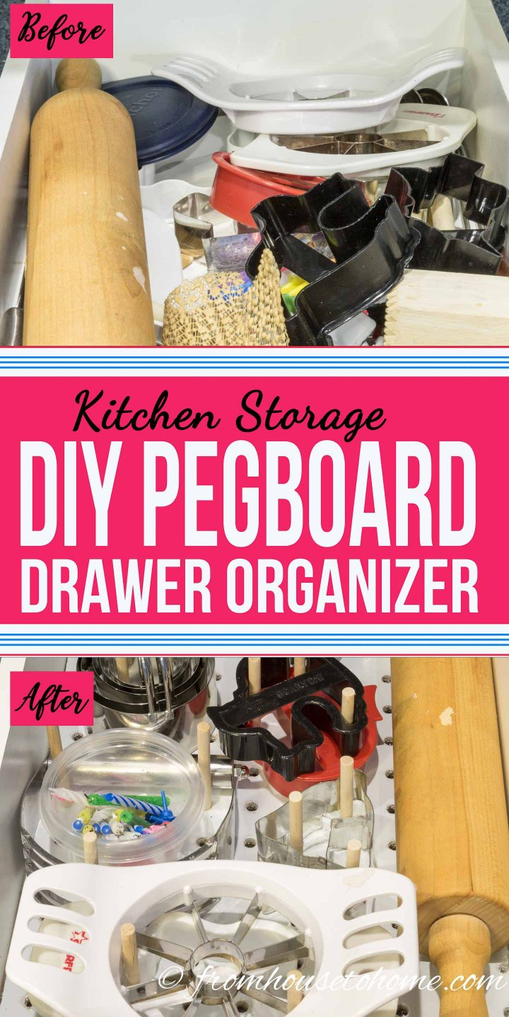 wood drawer organizers kitchen Custom Pegboard DIY Drawer Organizer