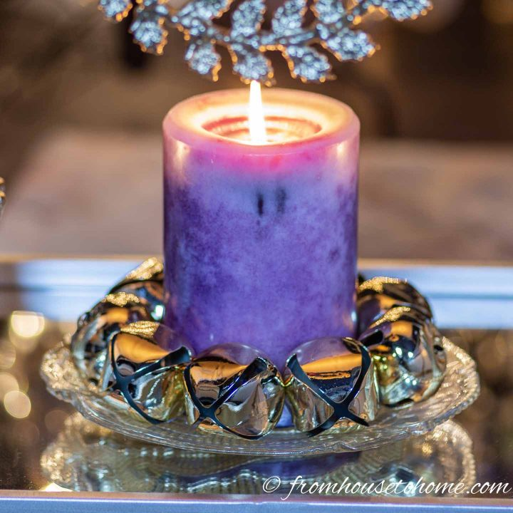 Purple and gold Christmas candle holder