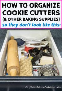 How to organize cookie cutters and other baking supplies using a DIY custom pegboard kitchen drawer organizer