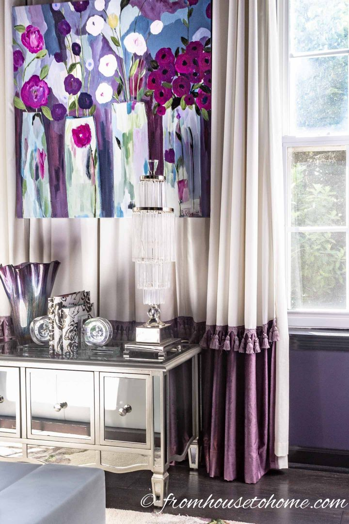Curtains with trim in a Hollywood glam bedroom