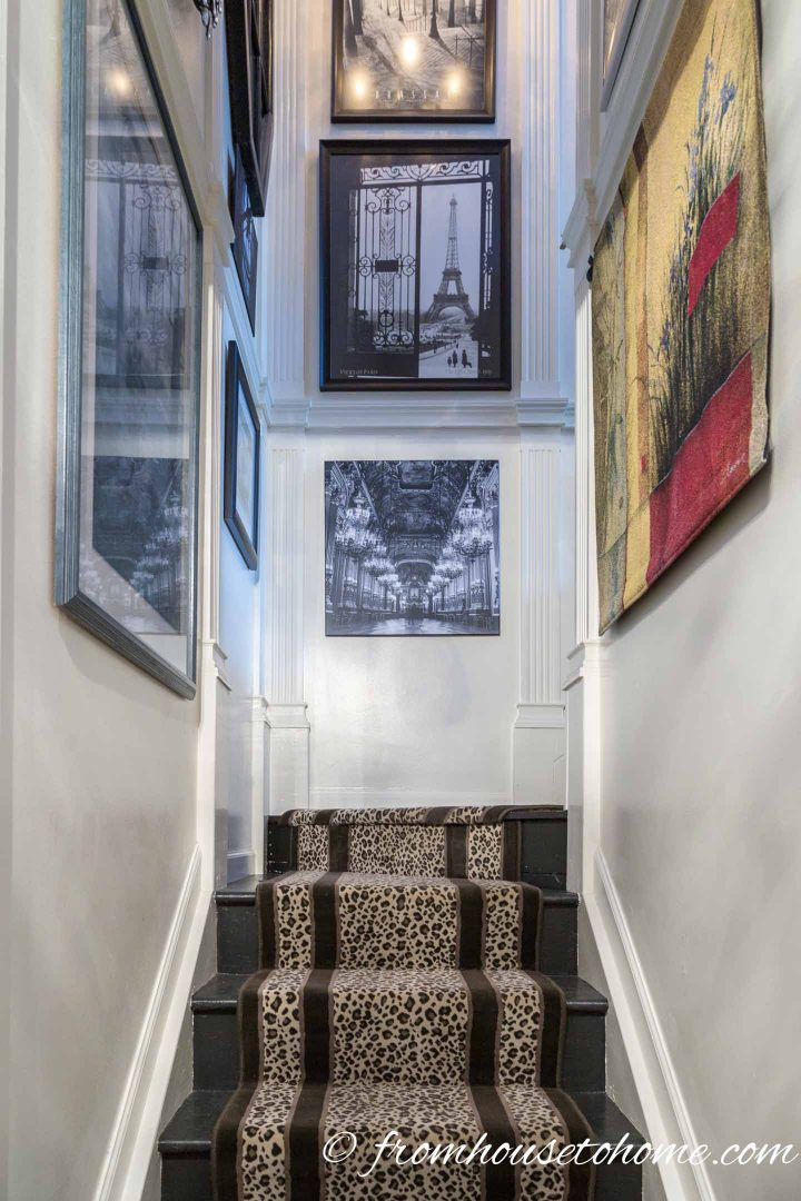 Leopard print stairway runner in glamorous interior design