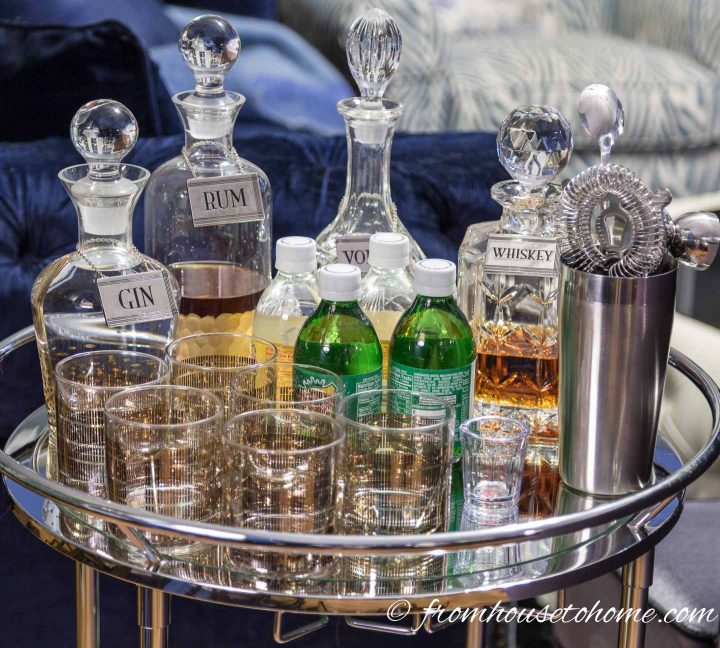 Bar cart with crystal decanters