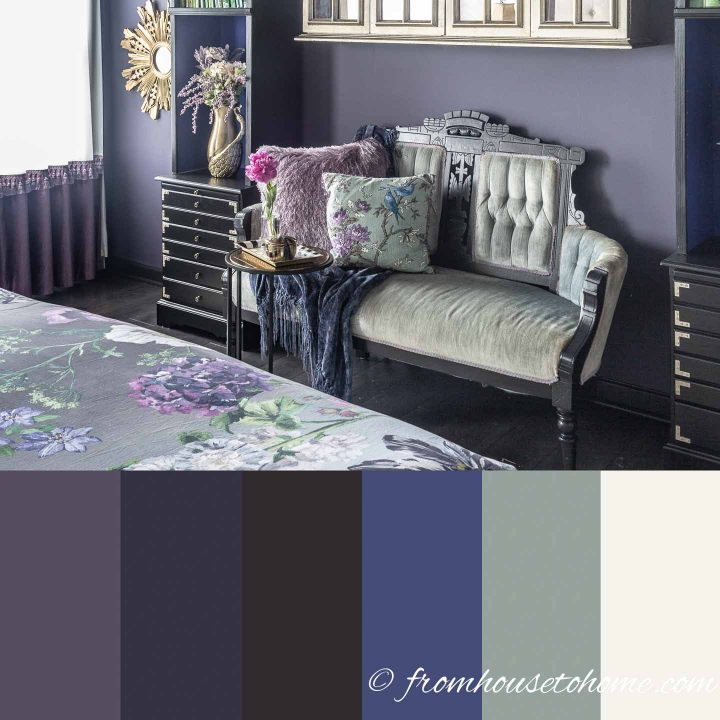 Color scheme for a purple and green bedroom