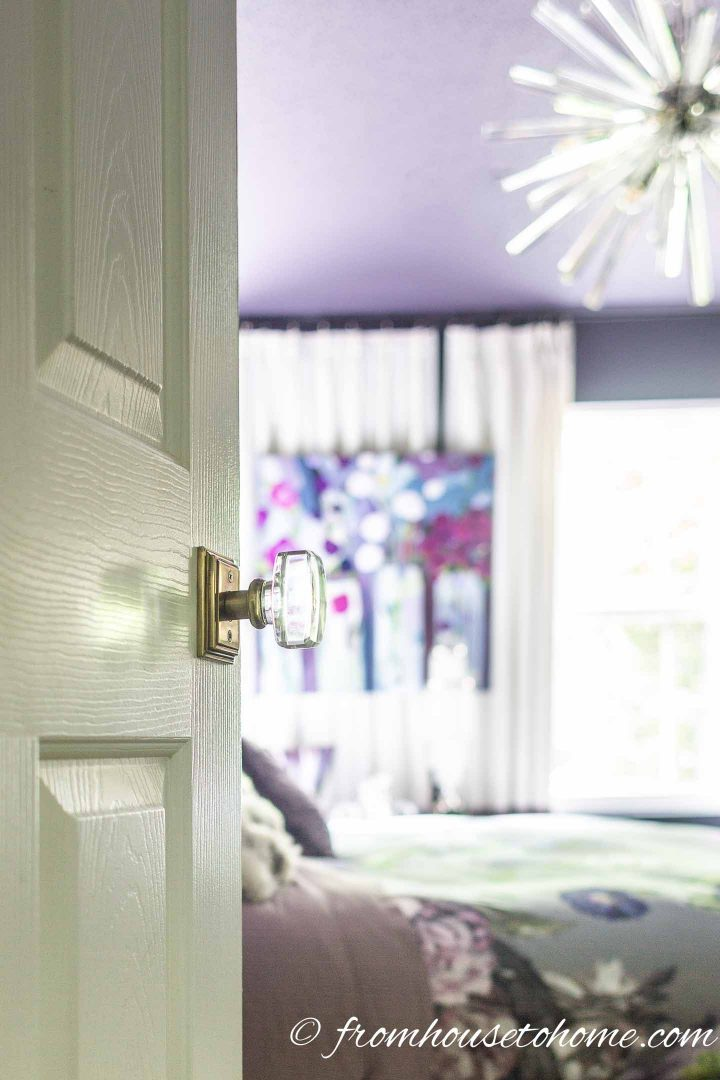 Glass door knob in a Hollywood glam bedroom