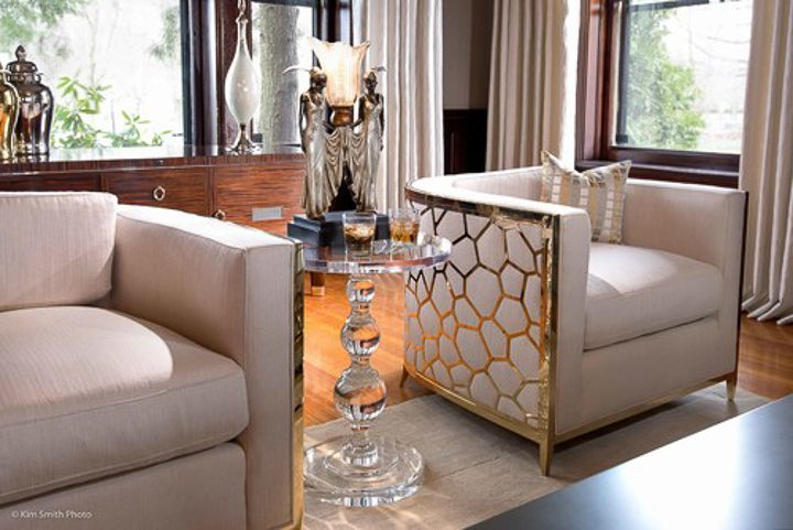 Lucite table in a Hollywood glam living room