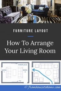 Living room furniture arrangements with a TV and a fireplace