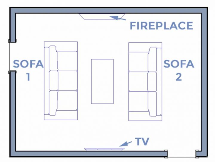 Living room layout with TV on opposite wall to the fireplace and perpendicular sofas