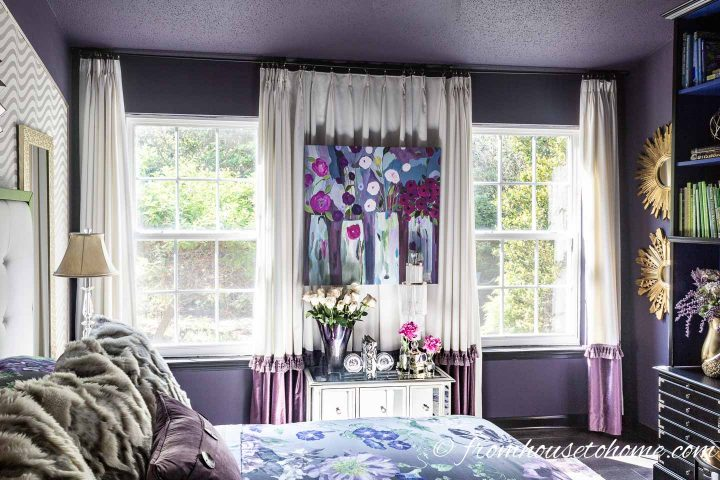 Wall to wall, floor to ceiling curtains in a bedroom