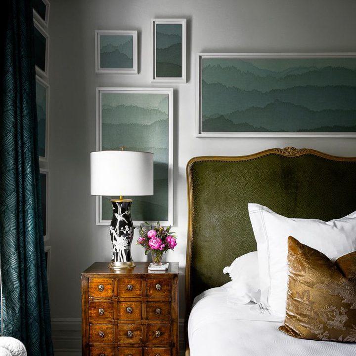 Gallery wall made from framed wallpaper