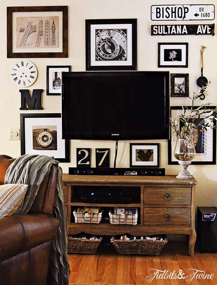 TV gallery wall from Tidbits & Twine