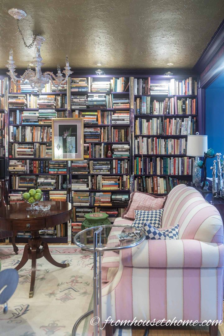 Wall of bookshelves in a living room