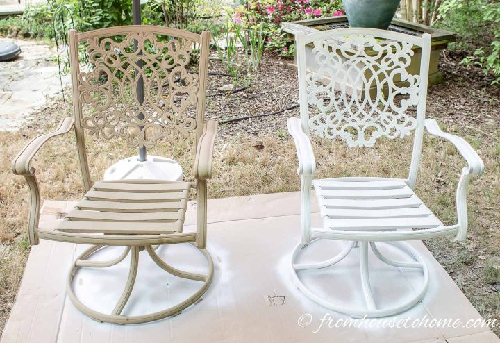 Before and after of painted metal patio chairs