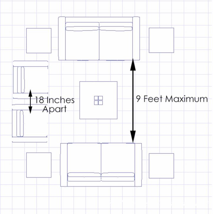 Living room conversation area seating arrangement diagram