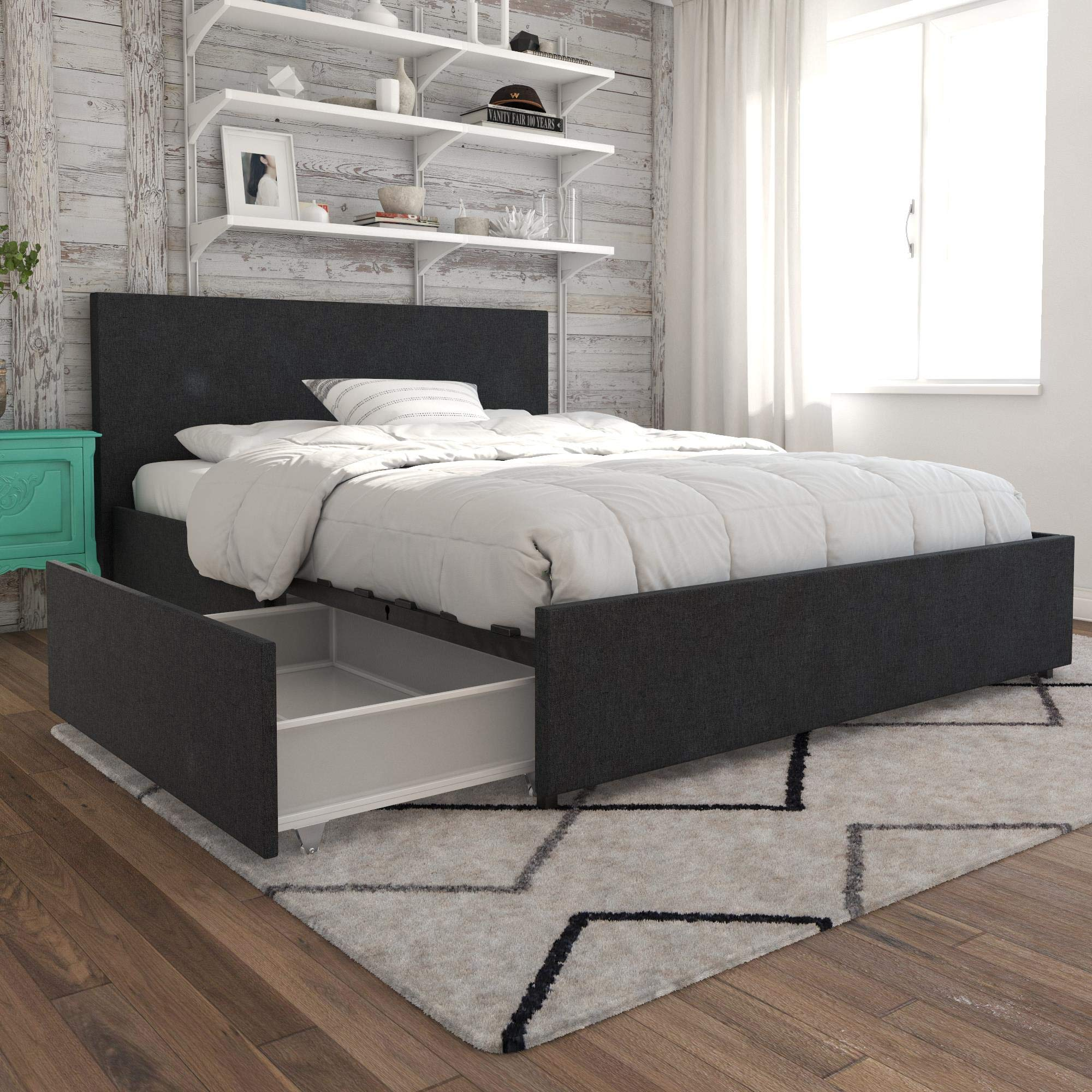 Bed with pull out drawers for storage