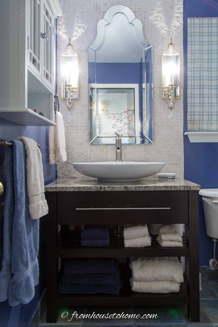 Blue and white guest bathroom