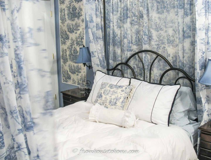 Blue and white toile master bedroom