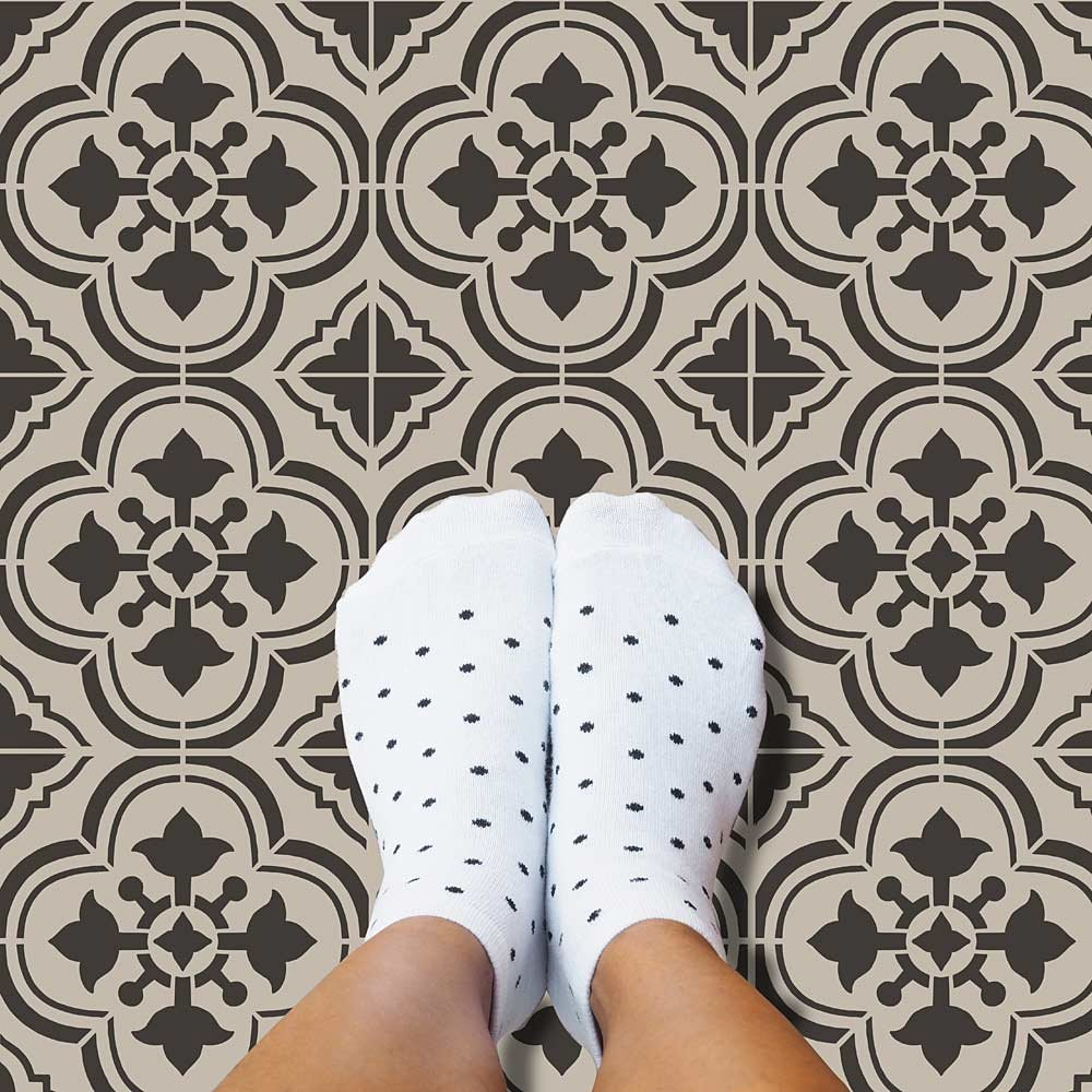DIY black and white stenciled floor