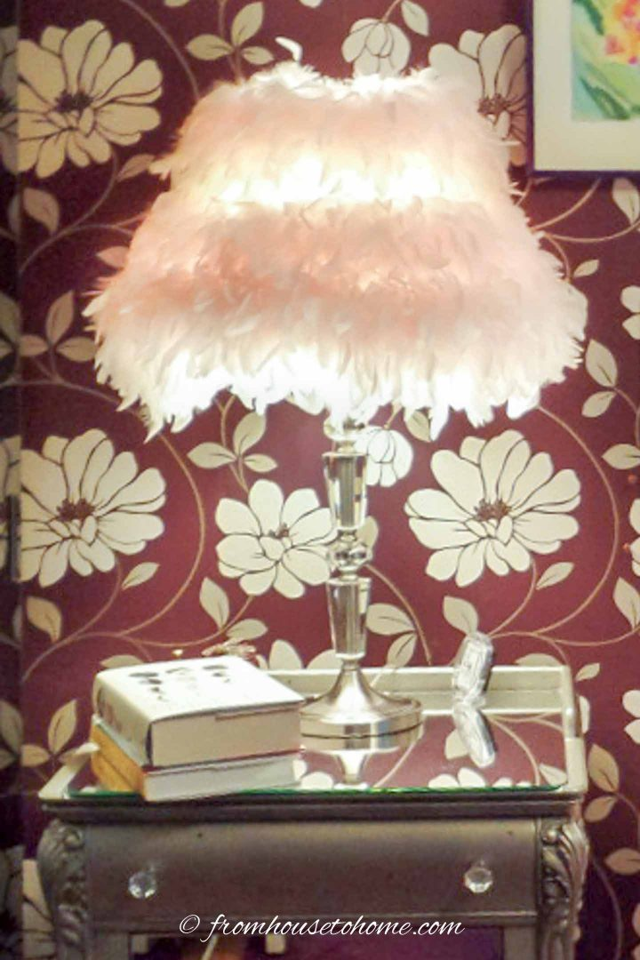 DIY feather boa lamp shade