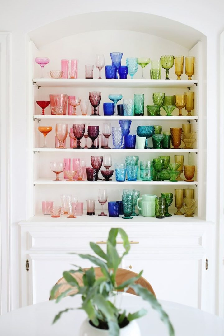 White shelf with colored glass