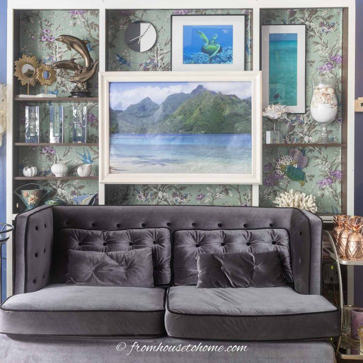 Living room wall with large DIY printed pictures