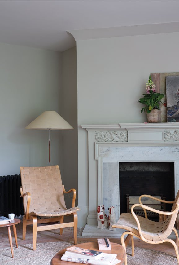 Living room wall painted in Farrow and Ball's 'Ash Grey'