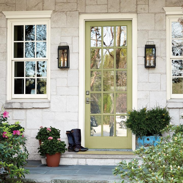 Front door painted with Behr's 2020 color of the year - 'Back To Nature'