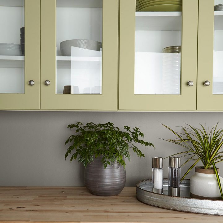 Kitchen cabinets painted with Behr's 2020 color of the year - 'Back To Nature'