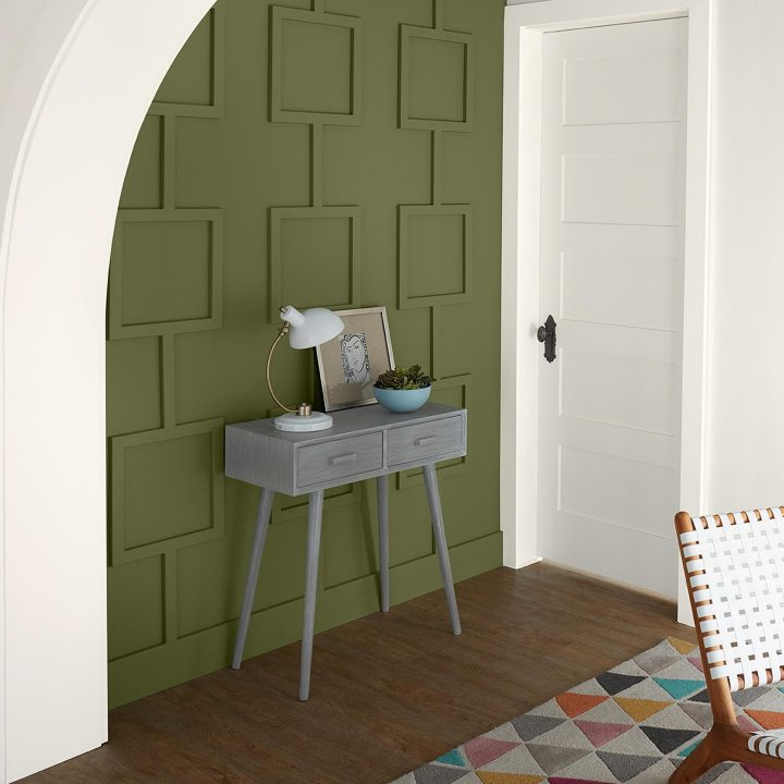 Wall painted with Behr's 'Secret Meadow', one of their 2020 color trends
