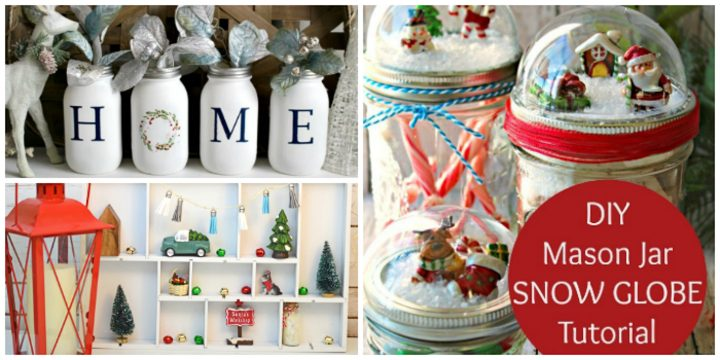 Mason jars, shadow box, and mason jar snow globe