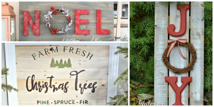 Noel, Farm Fresh Christmas Trees and Joy rustic holiday signs