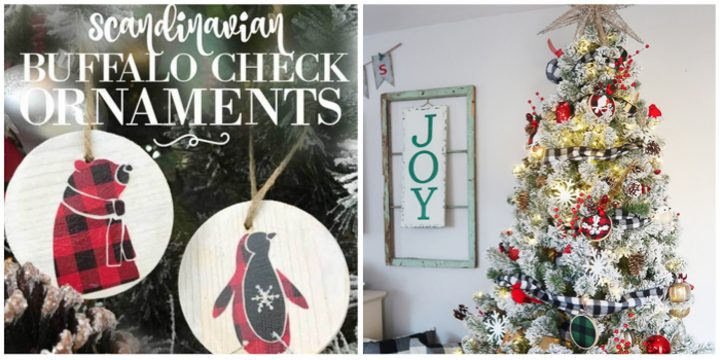 Scandinavian Ornaments and Buffalo Plaid Tree