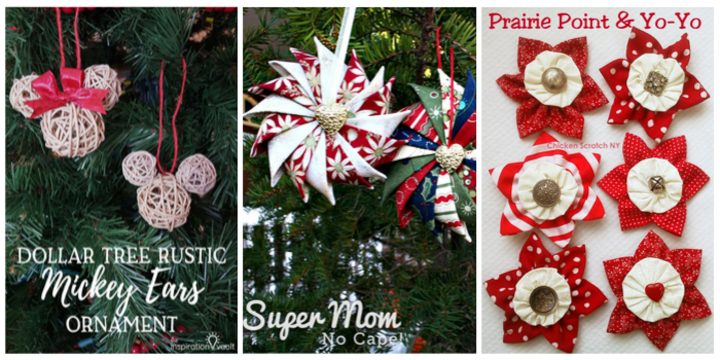 Mickey Ears Ornament, Prairie Star Ornament, Prairie Point and Yo Yo Ornaments