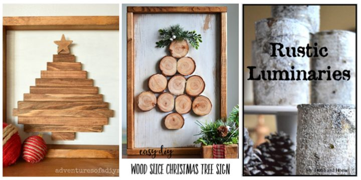 Wood Christmas tree signs and rustic luminaries