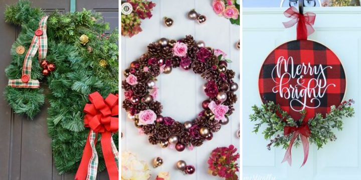 DIY Evergreen wreath, rose wreath and plaid wreath for the holidays