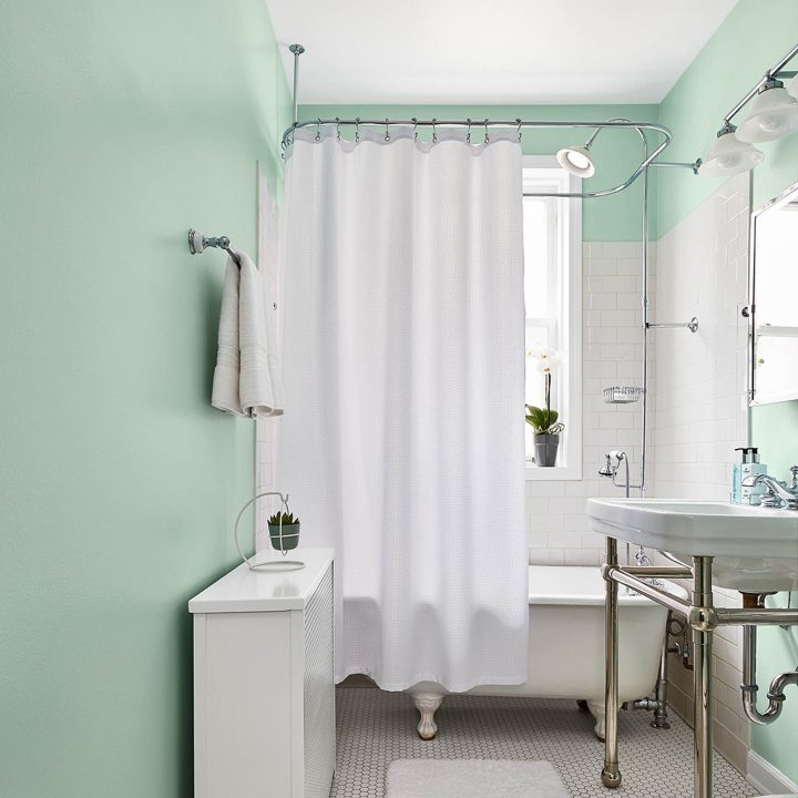 Bathroom wall painted in Valspar's 'Mint Whisper', one of the 2020 color trends
