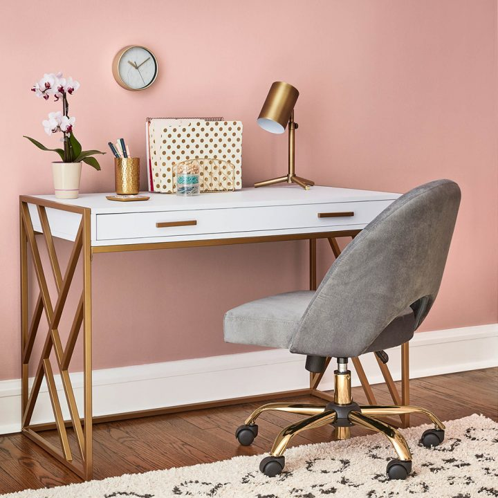 Office wall painted in Valspar's 'Bombay Pink', one of the 2020 paint color trends