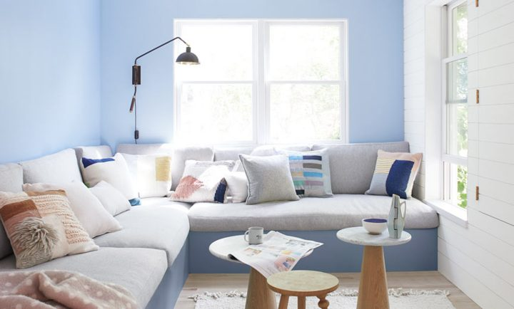 Small living room painted with Benjamin Moore's 'Windmill Wings', part of their 2020 color trends