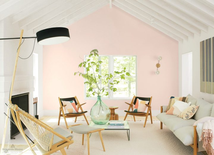 Living room wall painted with Benjamin Moore's 2020 color of the year - 'First Light'